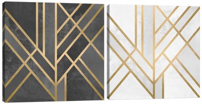 Art Deco Geometry Diptych Canvas Art Print