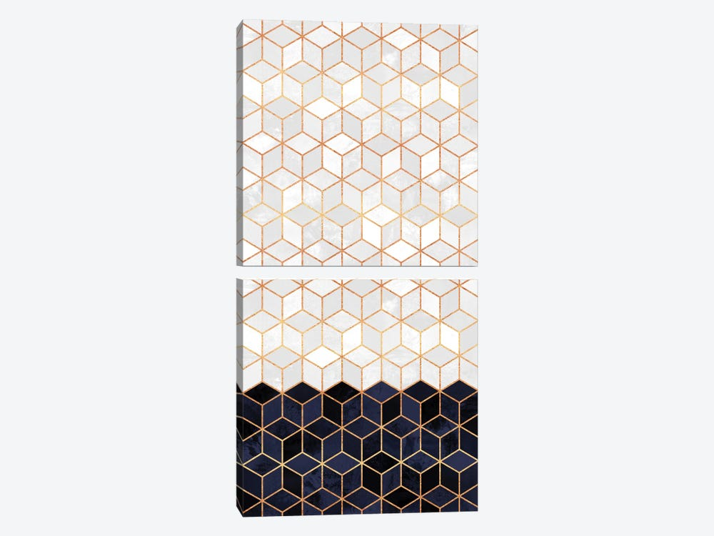 White and Navy Cubes Diptych 2-piece Canvas Print