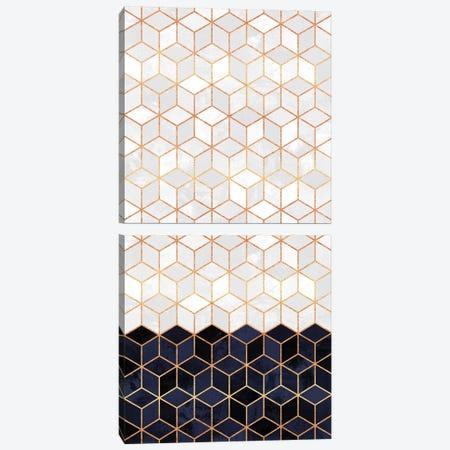 White and Navy Cubes Diptych Canvas Print Set #ELF2VSET007} by Elisabeth Fredriksson Canvas Art Print