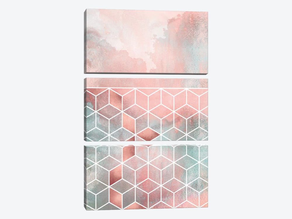Rose Clouds And Cubes I by Elisabeth Fredriksson 3-piece Canvas Artwork