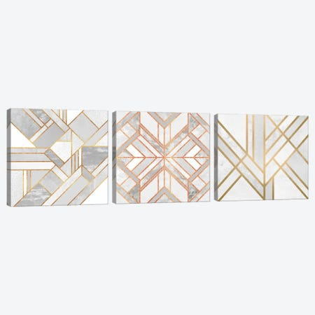Gold Marble Art Triptych Canvas Print #ELF3HSET002} by Elisabeth Fredriksson Canvas Print