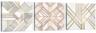 Gold Marble Art Triptych Canvas Art Print