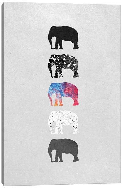 Five Elephants Canvas Art Print