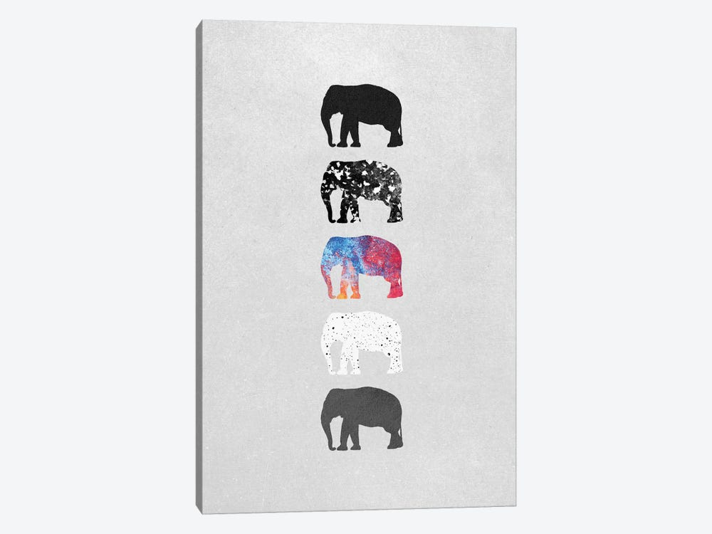 Five Elephants by Elisabeth Fredriksson 1-piece Canvas Artwork
