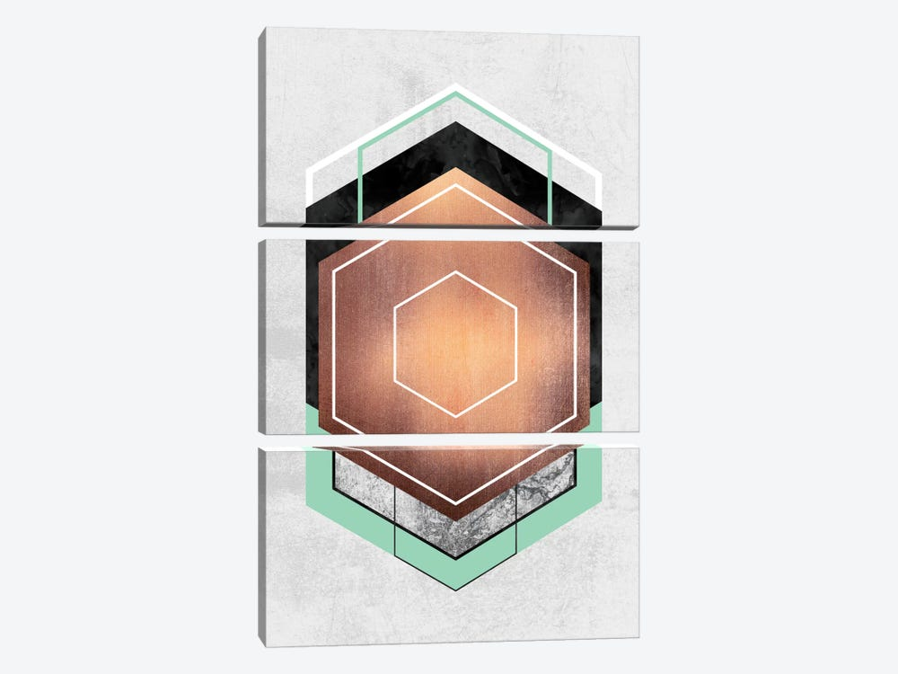 Hexagon Abstract I by Elisabeth Fredriksson 3-piece Canvas Artwork