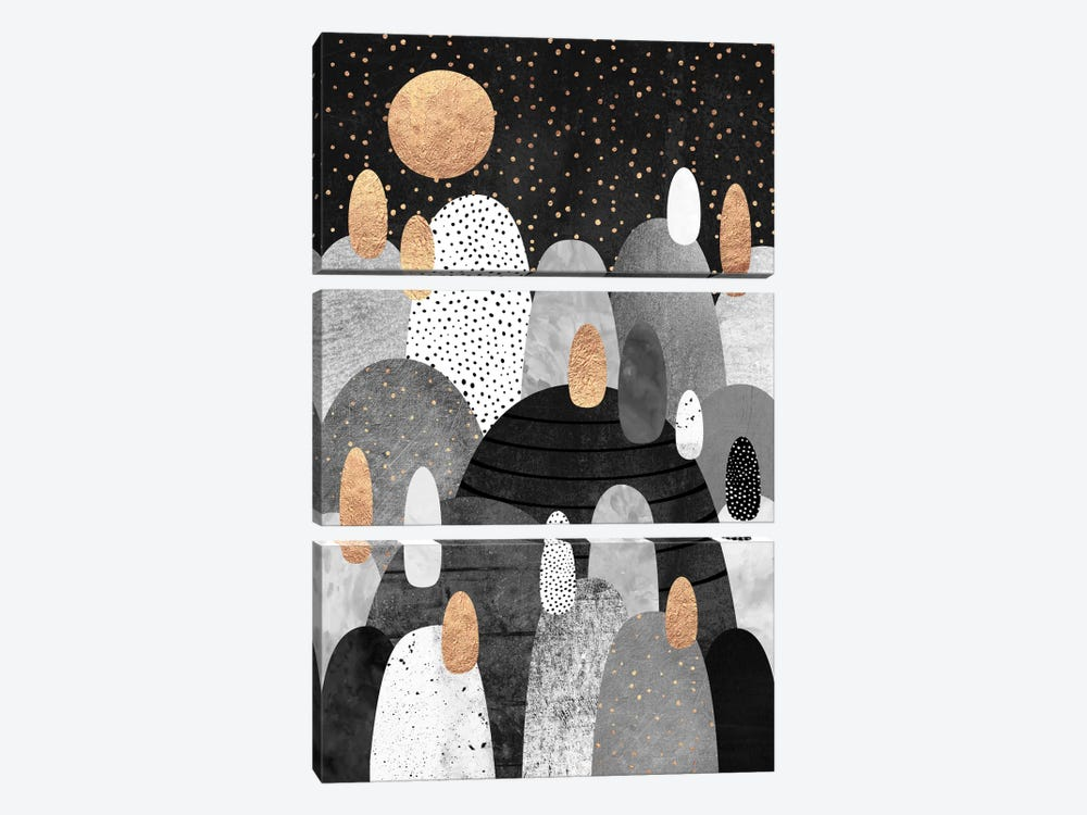 Little Land Of Pebbles By Night by Elisabeth Fredriksson 3-piece Canvas Artwork