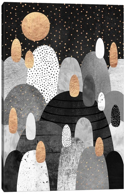 Little Land Of Pebbles By Night Canvas Art Print