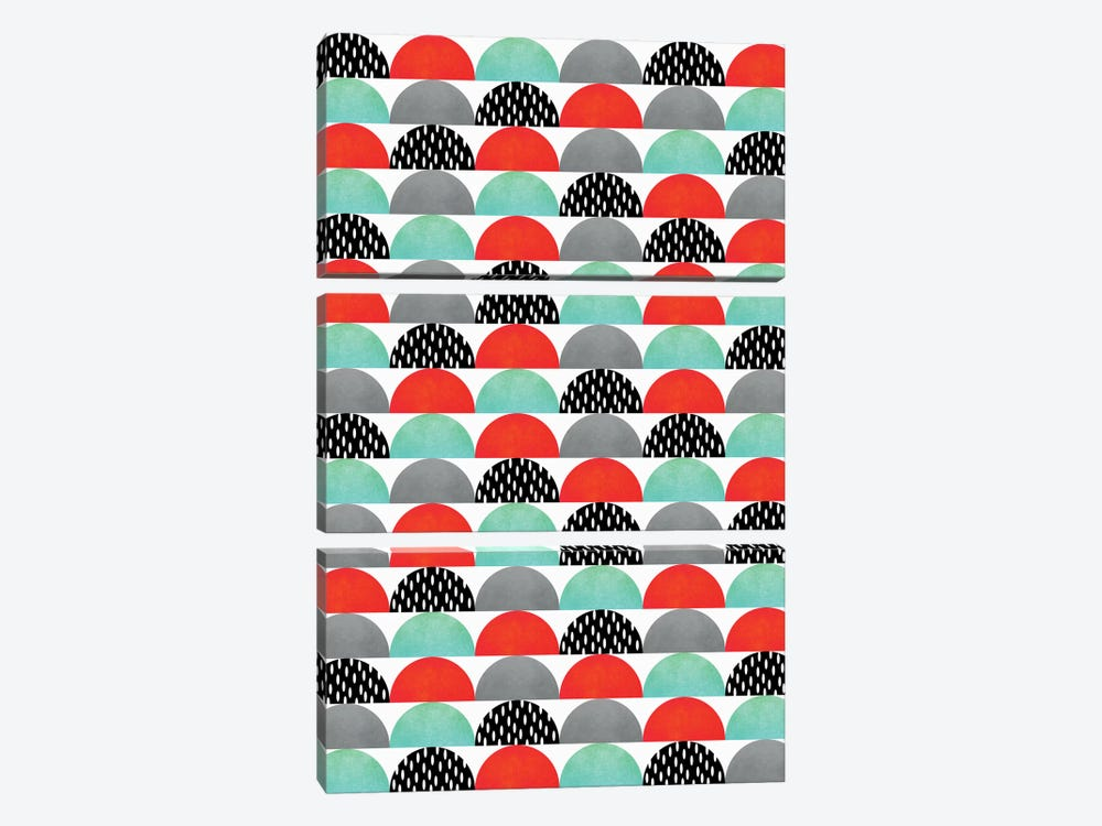 My Favorite Candy (Red And Turquoise) by Elisabeth Fredriksson 3-piece Canvas Art Print