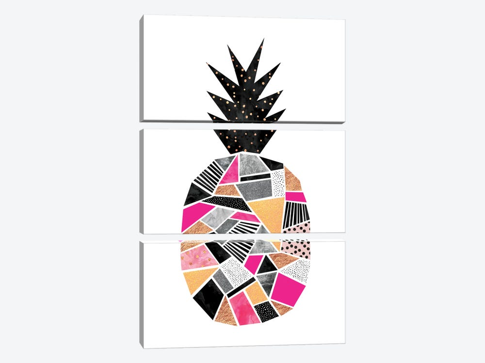 Pretty Pineapple by Elisabeth Fredriksson 3-piece Canvas Art Print