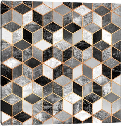 Black And White Cubes Canvas Print #ELF9