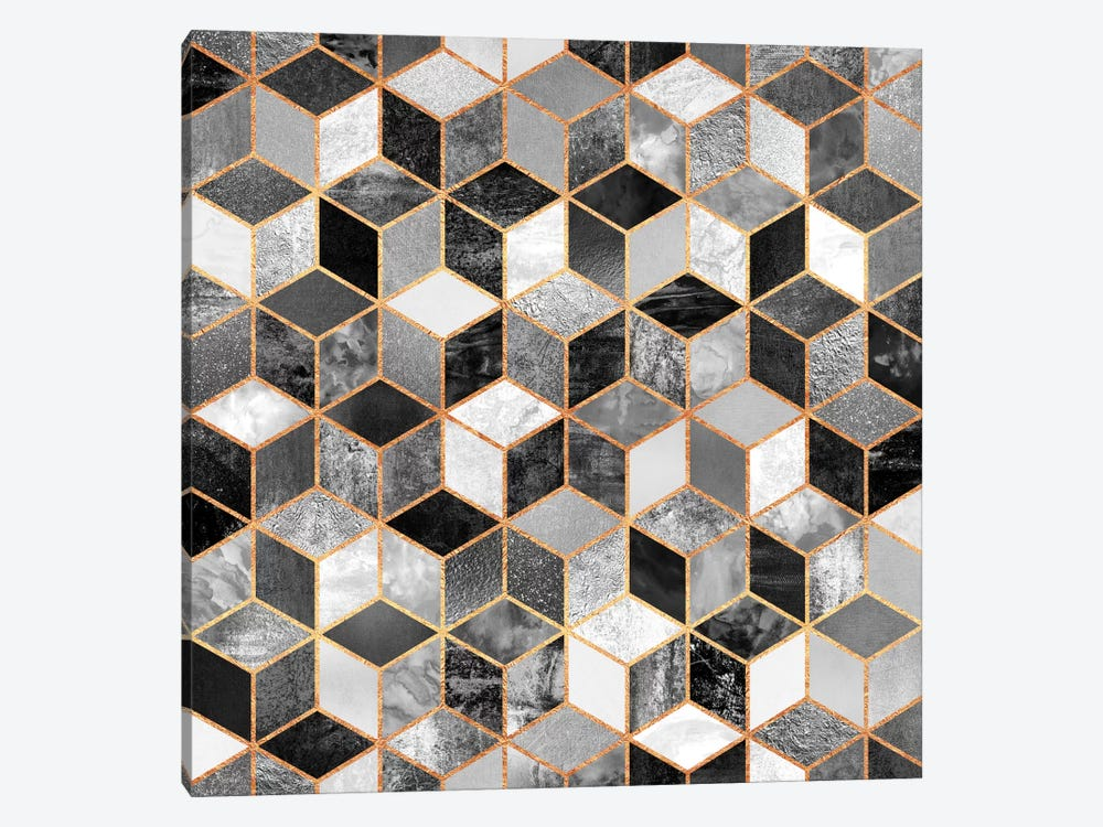 Black And White Cubes by Elisabeth Fredriksson 1-piece Canvas Art