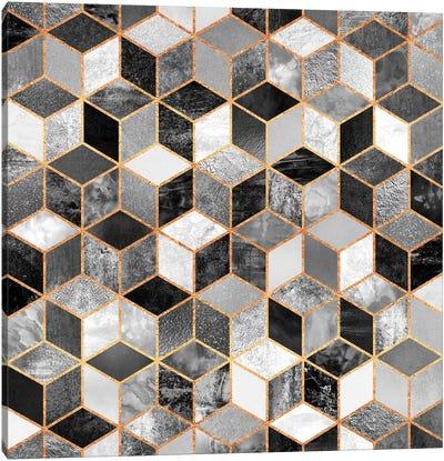 Black And White Cubes Canvas Art Print