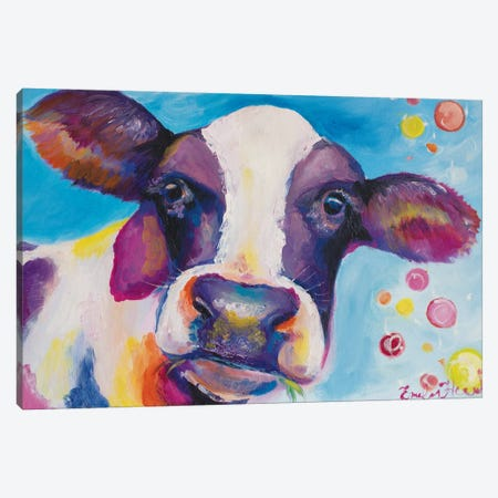 Mrs Cow Canvas Print #ELH21} by Emily Louise Heard Canvas Art Print