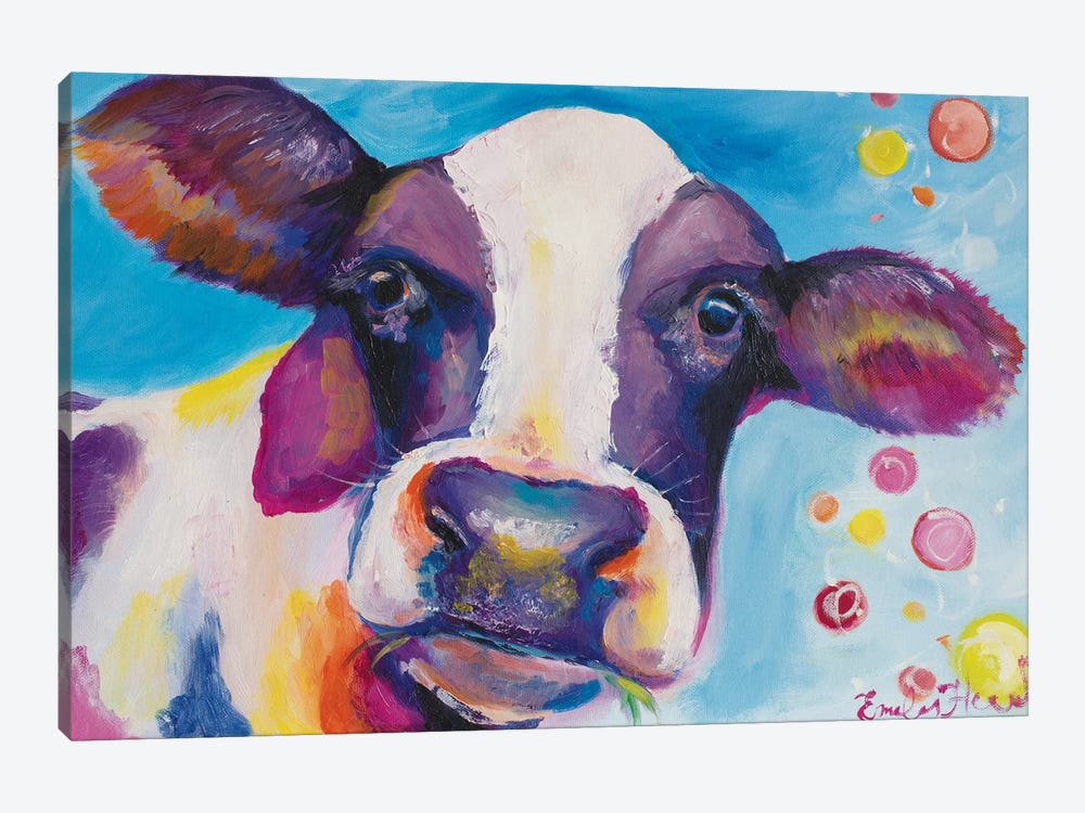 Mrs Cow by Emily Louise Heard 1-piece Canvas Print