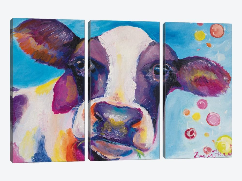 Mrs Cow by Emily Louise Heard 3-piece Canvas Print