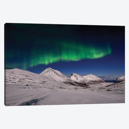 Aurora Borealis In The Mountains 3-Piece Canvas #ELM176} by Elmar Weiss Canvas Print