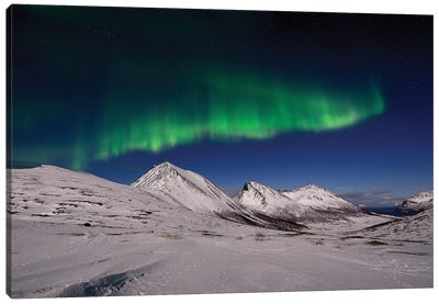 Aurora Borealis In The Mountains Canvas Art Print