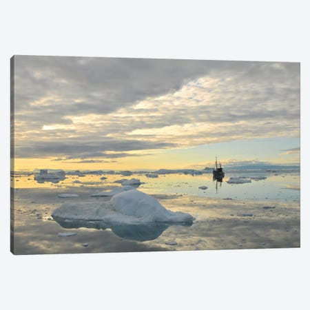 Fisher Boat And Icebergs - Greenland Canvas Print #ELM230} by Elmar Weiss Canvas Art Print