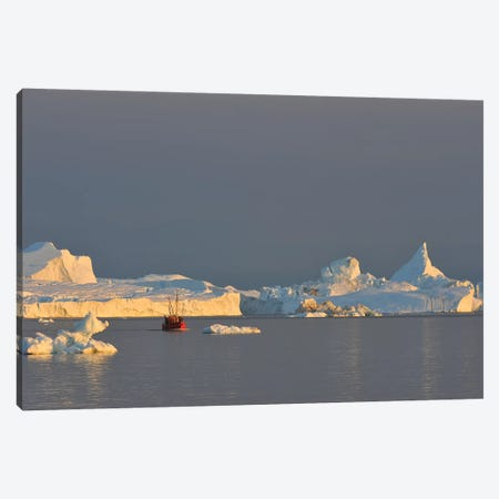 Fisher Boat And Icebergs In Greenland Canvas Print #ELM231} by Elmar Weiss Canvas Print