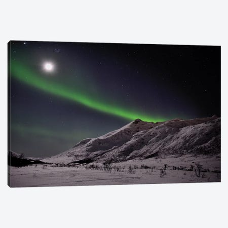 Full Moon And Aurora Borealis Canvas Print #ELM234} by Elmar Weiss Canvas Art