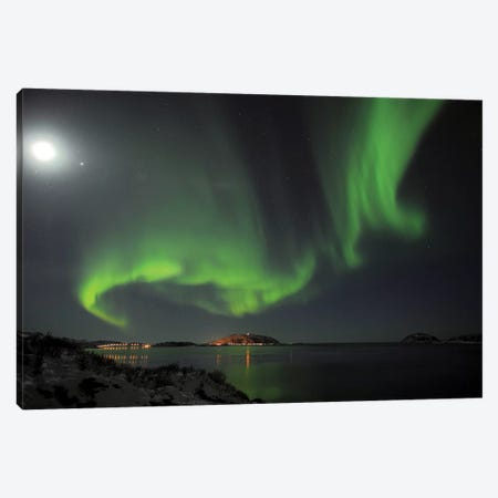 Full Moon And Northern Lights Canvas Print #ELM235} by Elmar Weiss Canvas Art