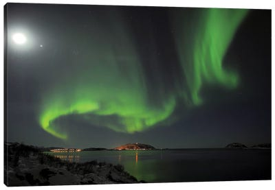 Full Moon And Northern Lights Canvas Art Print