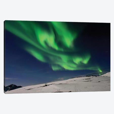 Green Flames - Aurora Borealis Canvas Print #ELM245} by Elmar Weiss Canvas Art Print