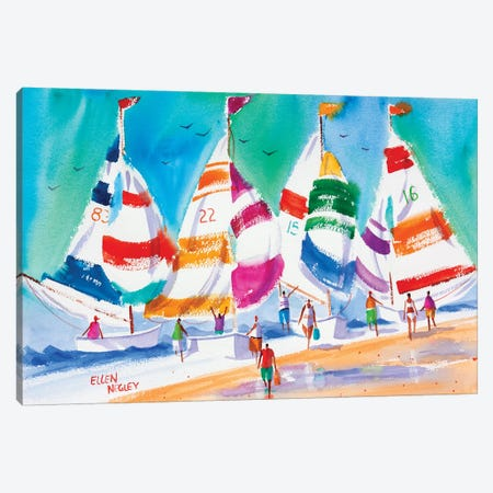 Cools Summer Sails Canvas Print #ELN10} by Ellen Negley Canvas Art
