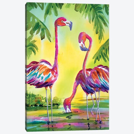 Flamingo Family Canvas Print #ELN21} by Ellen Negley Canvas Print
