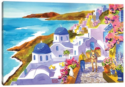Santorini Sunlight Canvas Art Print