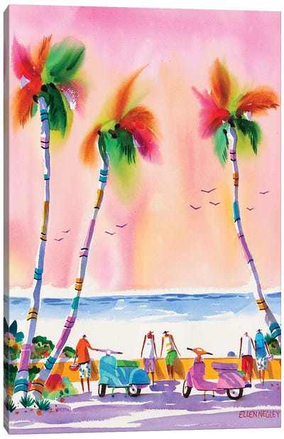 Seaside Scooters Canvas Art Print