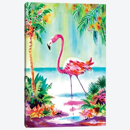 Flamingo Lagoon Canvas Print #ELN75} by Ellen Negley Art Print