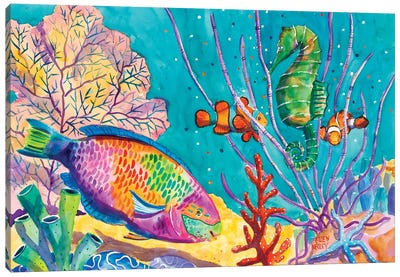 Parrot Fish Party Canvas Art Print