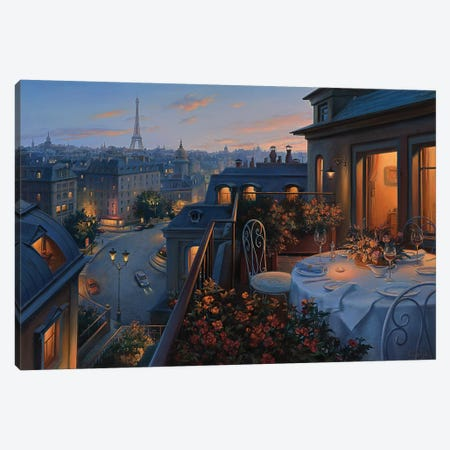 Paris Evening Canvas Print #ELU18} by Evgeny Lushpin Canvas Art Print