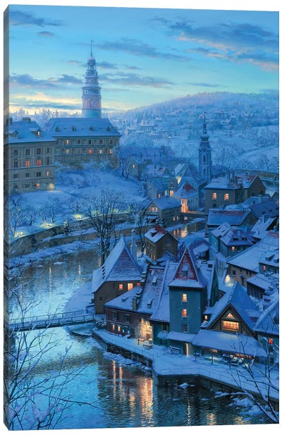 Twilight in Krumlov Canvas Art Print