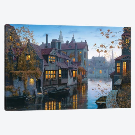 Autumn In Brugges Canvas Print #ELU2} by Evgeny Lushpin Canvas Print