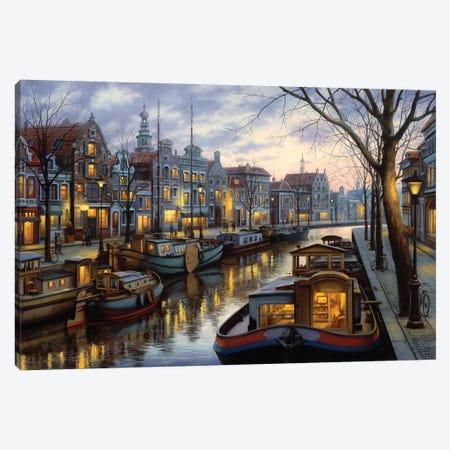 Canal Life Canvas Print #ELU5} by Evgeny Lushpin Canvas Artwork