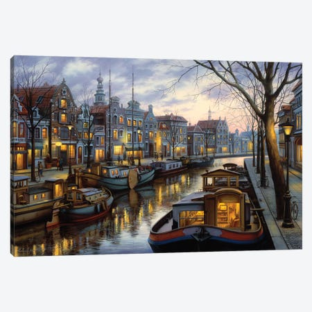 Canal Life Canvas Print #ELU5} by Evgeny Lushpin Canvas Artwork