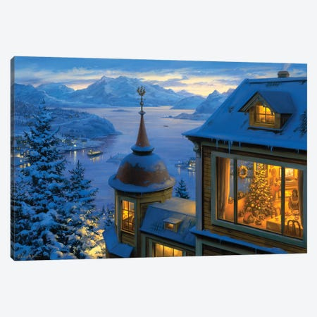 Coming Home For Christmas Canvas Print #ELU6} by Evgeny Lushpin Canvas Wall Art