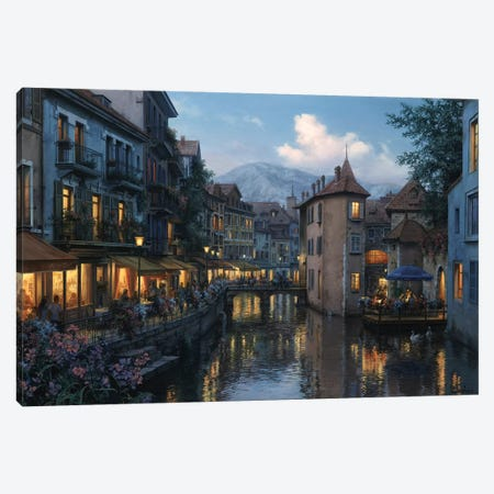 Evening in Annecy Canvas Print #ELU9} by Evgeny Lushpin Canvas Art Print
