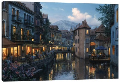 Evening in Annecy Canvas Art Print