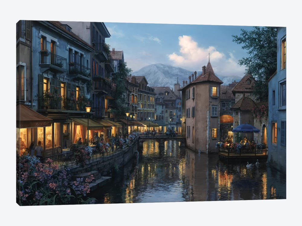 Evening in Annecy by Evgeny Lushpin 1-piece Art Print