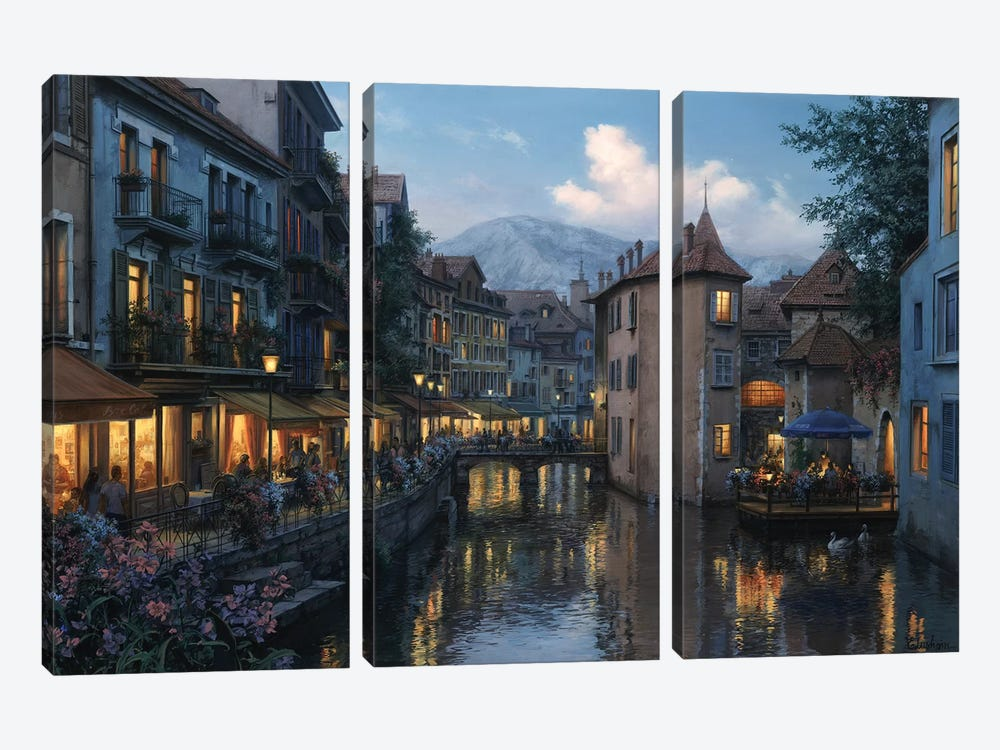 Evening in Annecy by Evgeny Lushpin 3-piece Canvas Print