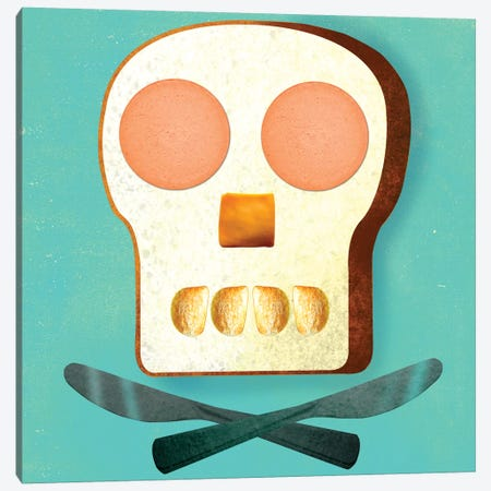 Food Skull Canvas Print #ELW12} by Ellen Weinstein Art Print