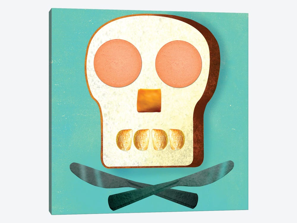 Food Skull by Ellen Weinstein 1-piece Canvas Artwork