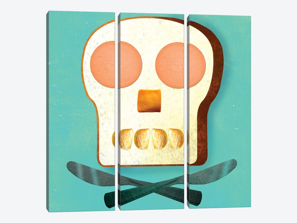 Food Skull by Ellen Weinstein 3-piece Canvas Art