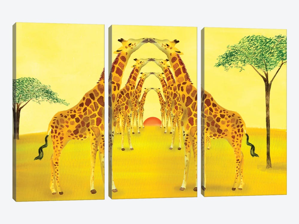 Safari by Ellen Weinstein 3-piece Canvas Wall Art