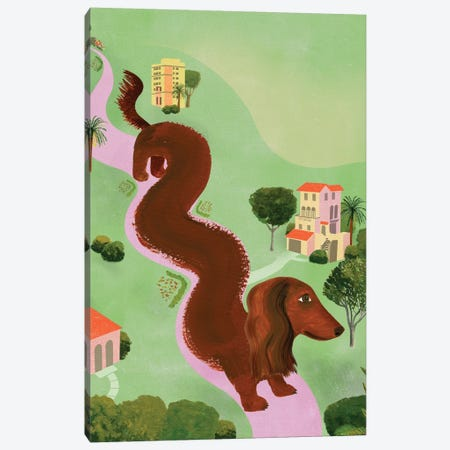 Windy Dog Canvas Print #ELW19} by Ellen Weinstein Canvas Art Print