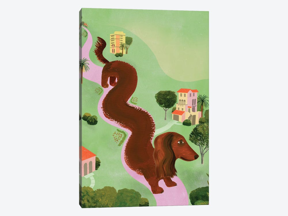 Windy Dog by Ellen Weinstein 1-piece Canvas Print