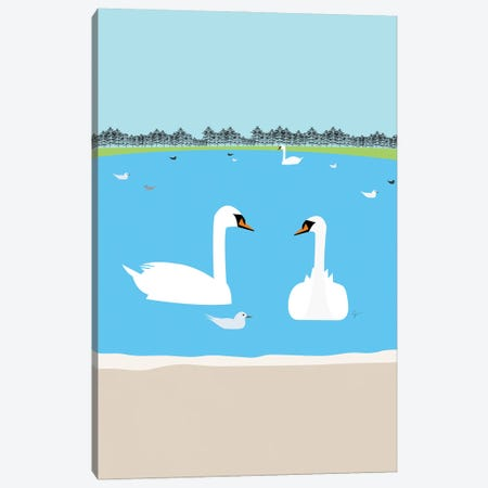 Round Pond Swans, Kensington Gardens London, England, UK Canvas Print #ELY109} by Lyman Creative Co. Art Print